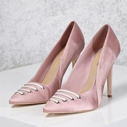 Shoespie Pointed-toe Satin Lace-Front Stiletto Heels