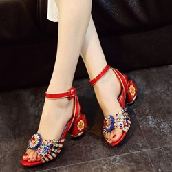 Shoespie Vintage Block Heel Sandals