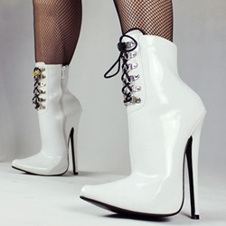 Shoespie Cool Pointed-toe Lace-up Ankle Boots