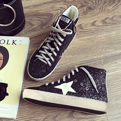 Shoespie Side Zipper Sequins Pentagram Sneaker