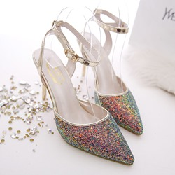 Shoespie Button-Loop Colorful Stiletto Heels