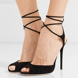 Shoespie Black Peep Toe Lace Up Dress Sandals