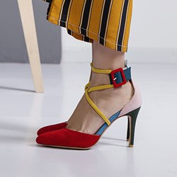 Color Block Pointed Toe Buckle Pumps