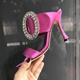 Shoespie Silky Heeled Mules with Round Rhinestone Buckles