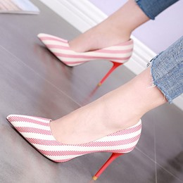 Shoespie Pointed-toe Striped Stiletto Heels