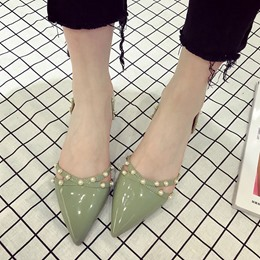 Shoespie Pointed-toe Fresh Pearl Low Heels