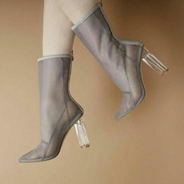Shoespie Pointed Toe Summer Clear Boots