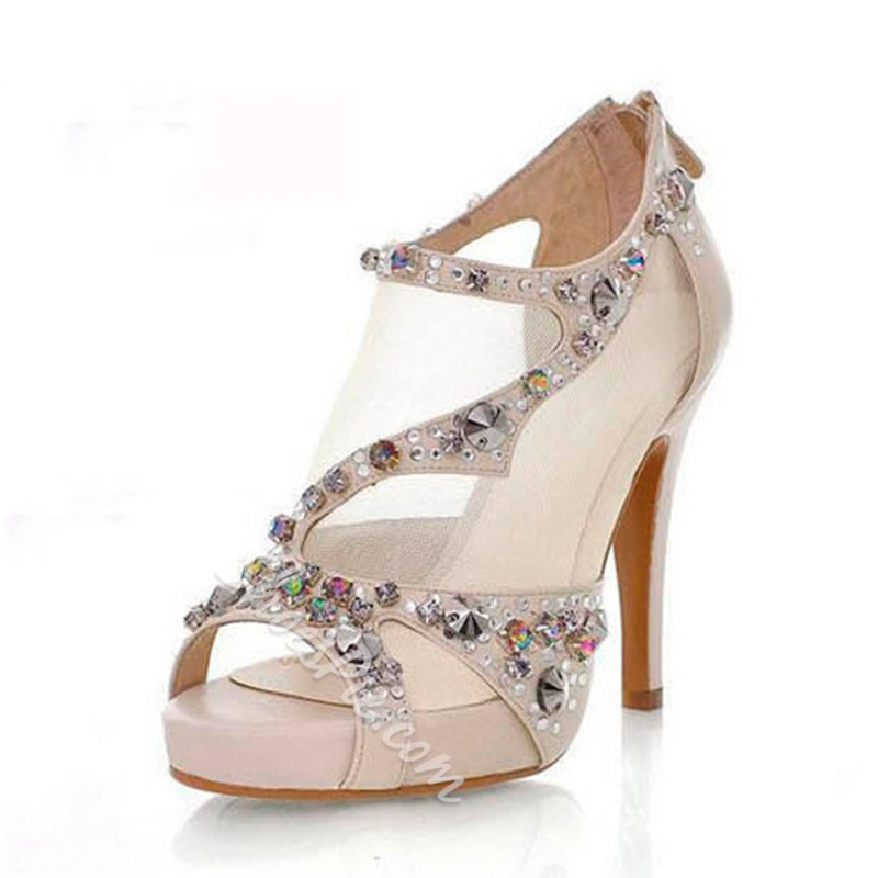 Shoespie Peep-toe Reticular Chromatic Stiletto Heels