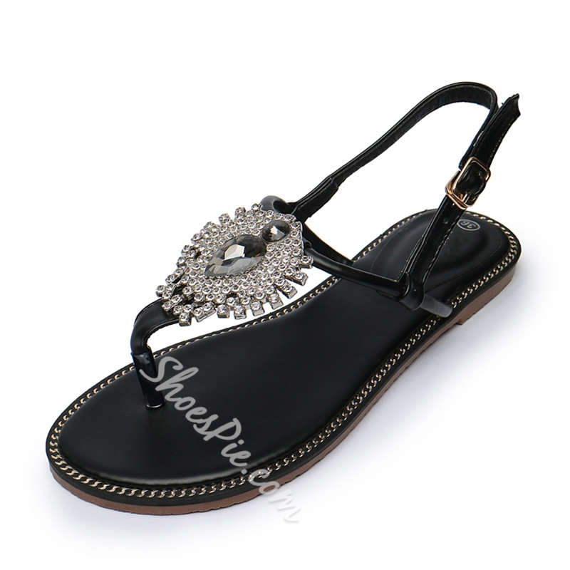 Shoespie Big Rhinestones Thong Flat Sandals