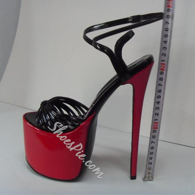 Shoespie Black and Red Super High Heel Platform Sandals