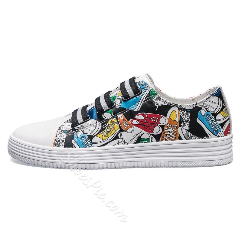 Shoespie Cartoon Print Round Toe CasualSlip-On Canvas Sneakers Athletic Shoes