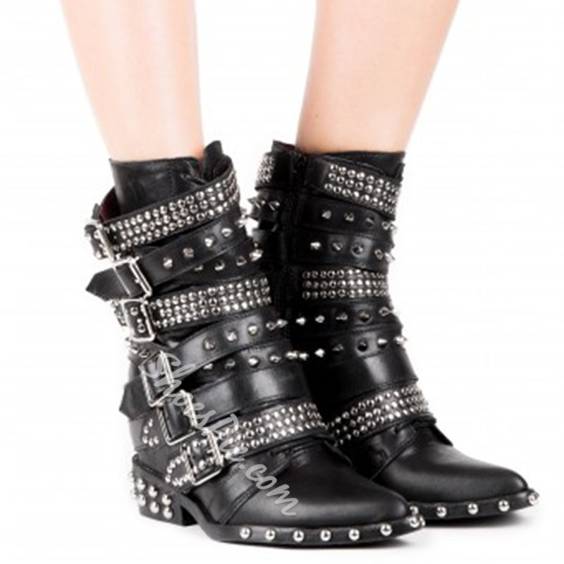 Shoespie Rivets Metal Buckles Ankle Boots