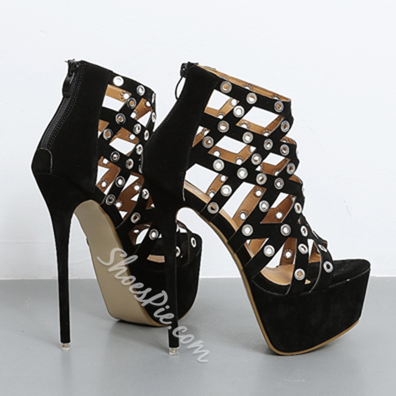 Shoespie Hollow Across Platform Heels
