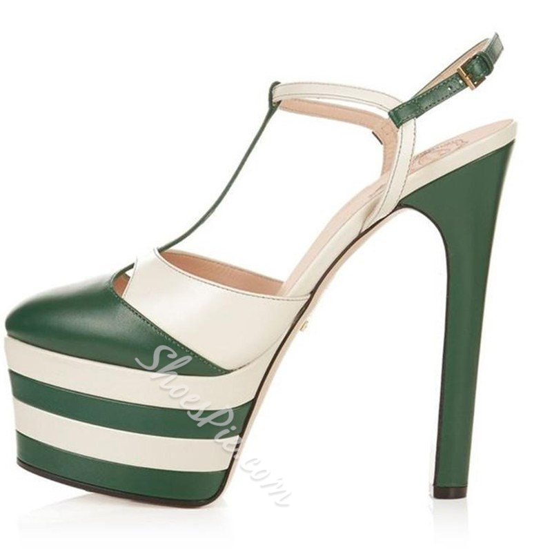Shoespie Sexy Rivets T-Strap Striped Platform Heels