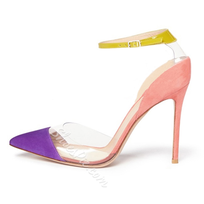 Shoespie Pointed Toe Pointed Toe Line-Style Buckle Stiletto Heel