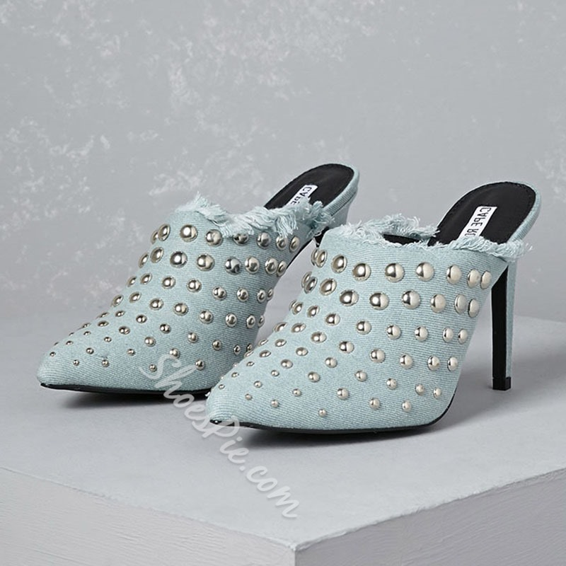 Shoespie Rivets Studded Stiletto Heels