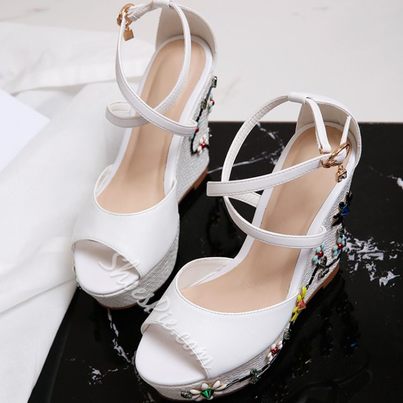 Shoespie Cross Strap[ Embellished Wedge Sandals