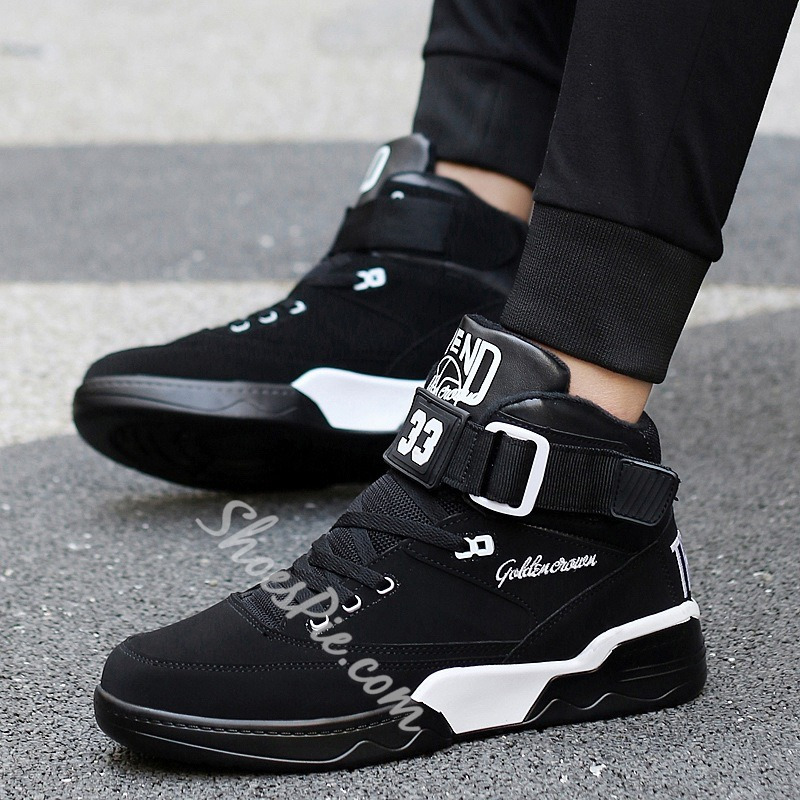 Shoespie High Upper Velcro Lace Up Men's Sneakers