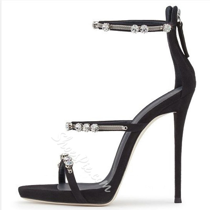 Shoespie Black Stiletto Heel Strappy Sandals with Rhinestones