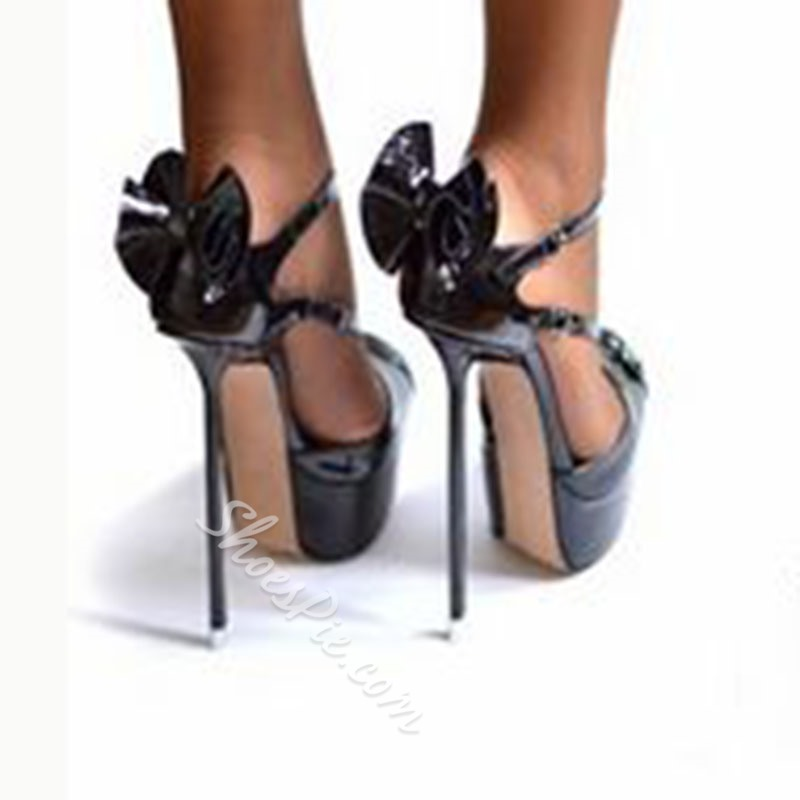 Shoespie Black Peep Toe Metal Stiletto Heel Platform Sandals