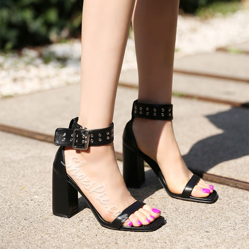 Shoespie Black Chunky Heel Ankle Strap Sandals