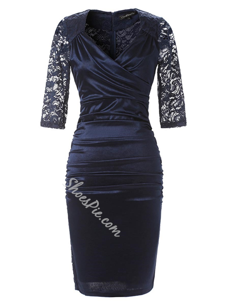 Lace V-Neck Hollow Bodycon Dresses