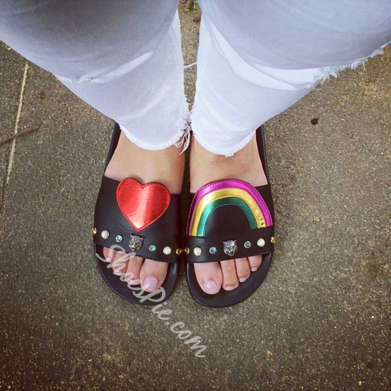 Shoespie Cute Rainbow and Heart Slippers
