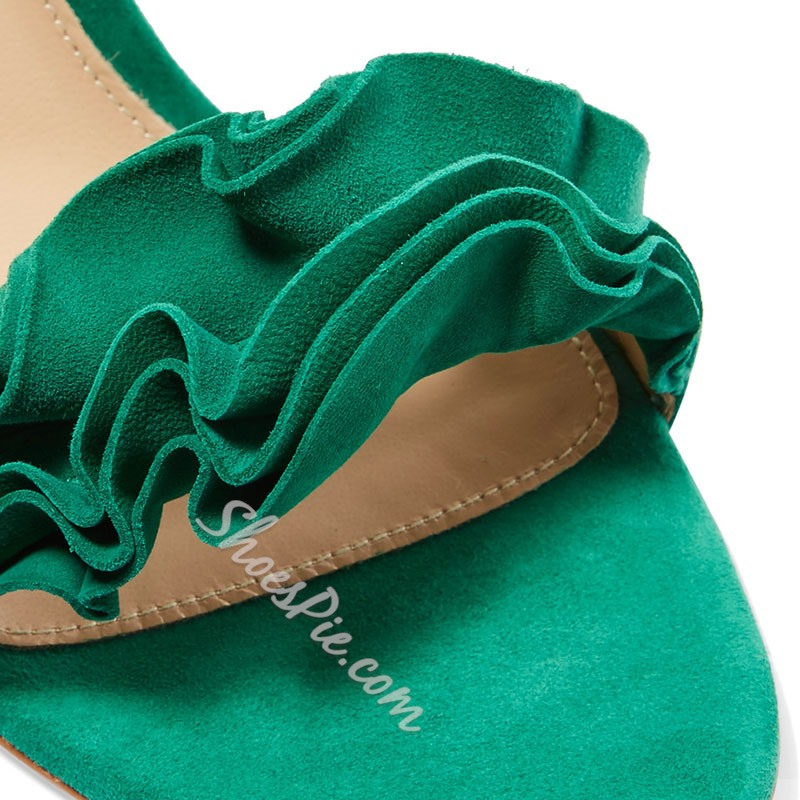Shoespie Green Frills Lace Up Stiletto Heel Sandals