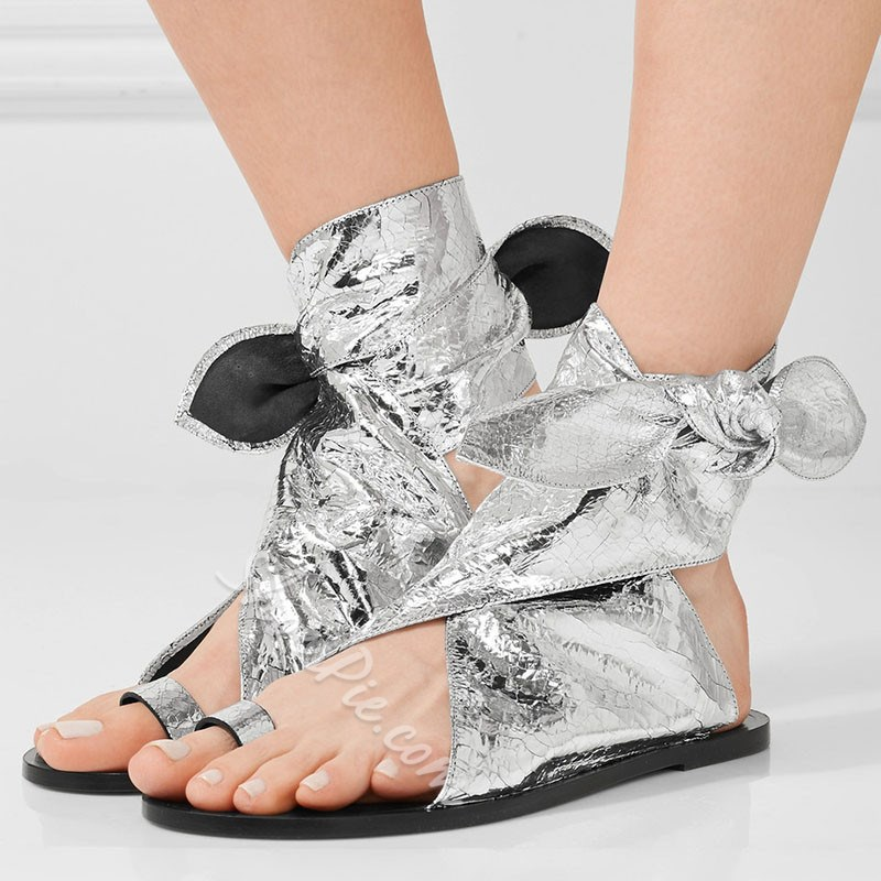 Shoespie Silver Metalic Ankle Wrap Bow Flat Sandals