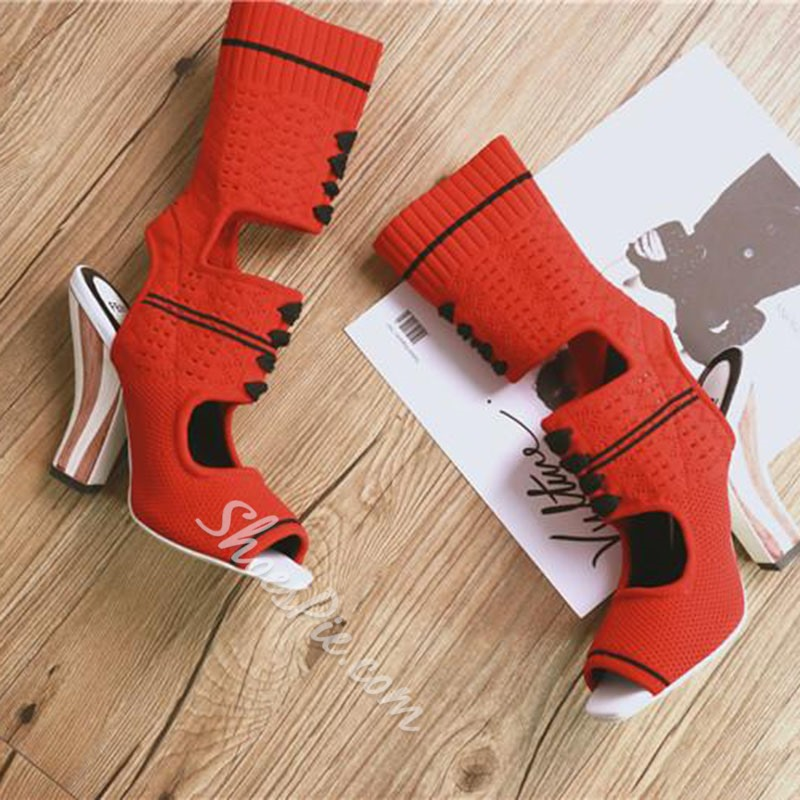 Shoespie Cutout Sock Bootie Sandals