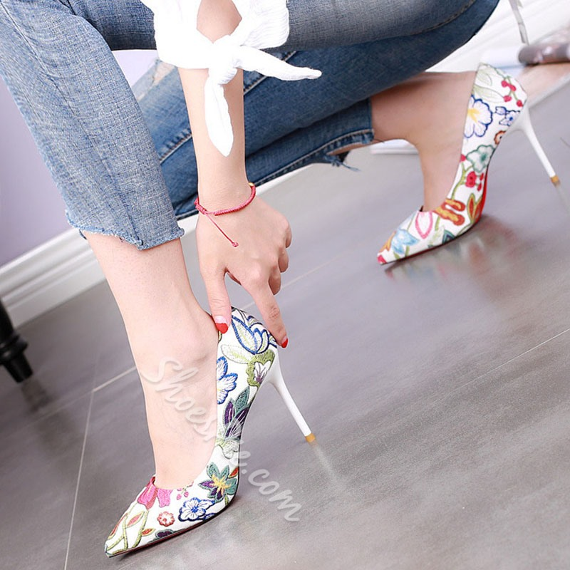 Shoespie Sexy Plates Flowers Stiletto Heels