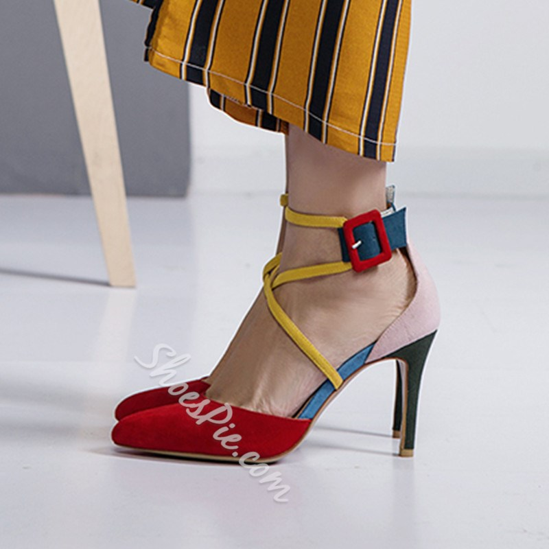 Shoespie Color Block Pointed Toe Buckle Heel Sandals