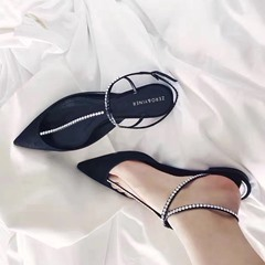 Rhinestone Buckle Closed Toe Flat Sandals
