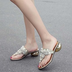 Shoespie Pearls Beading Thong Fashion Slippers