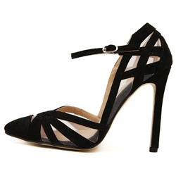 Shoespie Black Crossed Ankle-Wrap Stiletto Heels
