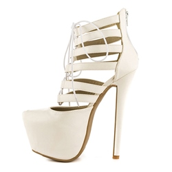 Shoespie Beige Lace-up Cutout Platform Heels