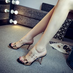 Shoespie Rivet Summer Slip-On Flip Flop Stiletto Heel Mules Shoes