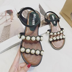 Shoespie Line-Style Buckle Ankle Strap Beads Flat Sandals
