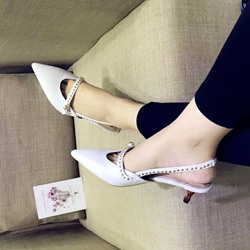 Shoespie Pointed Toe Bamboo Heel Snadals