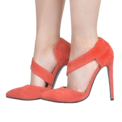 Shoespie Sexy Orange Velcro Stiletto Heels