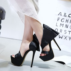 Shoespie Black Platform Heel Sandals