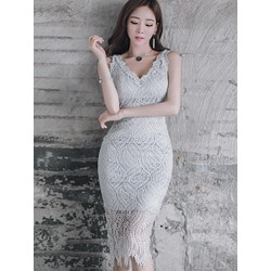 Shoespie Light Gray Lace Inset Fringe Bodycon Dress