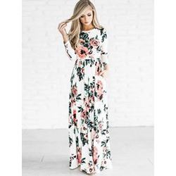 Shoespie Floral Pocket Print Women's Maxi Dress