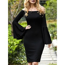 Shoespie Slash Neck Flare Sleeve Above Knee Long Sleeve Bodycon Dress