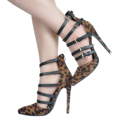 Shoespie Leopard Print Pointed-toe Multiple Metal Buckles Stiletto Heels