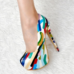 Shoespie Cool Colorful Platform Heels