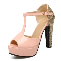 Shoespie Peep Toe Sequin Plain Color Block Platform Heel