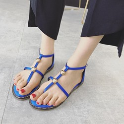 Shoespie Beads BuckleSilk Fabric Thong Flat Sandals