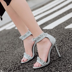 Shoespie Frills Ankle Strap Dress Sandals
