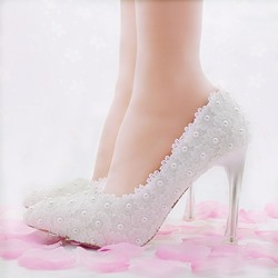 Shoespie Lace Pearl Bridal Shoes
